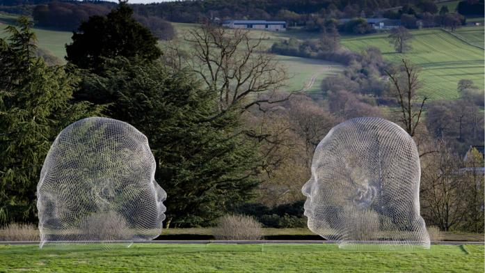 Sculptures by Jaume Plensa at the Yorkshire Sculpture Park
